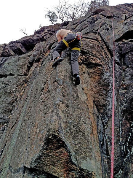 Rock Climbing Photo: Brian Sundermann on first ascent of Rock Romancer