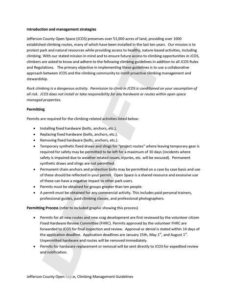 Rock Climbing Photo: Draft JeffCo Climbing Management Guidelines P2