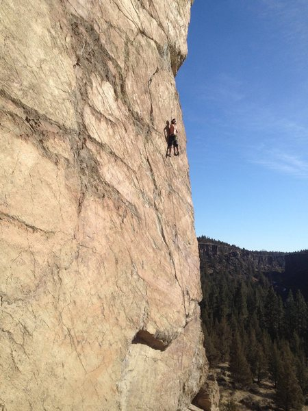 Josh setting up for the crux