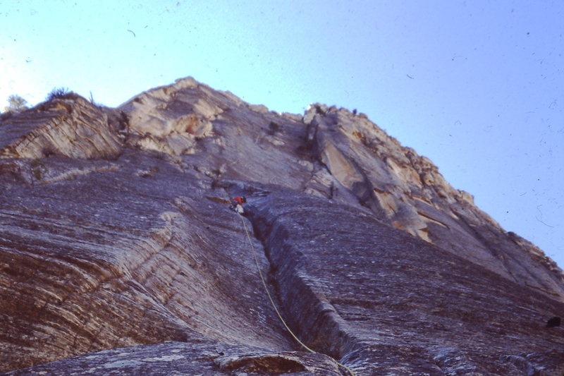 4 or 5th ascent?  Based on Rangers.<br> Getting up to bivy ledge.  We hoped to do it all clean.  Started pounding iron about here.