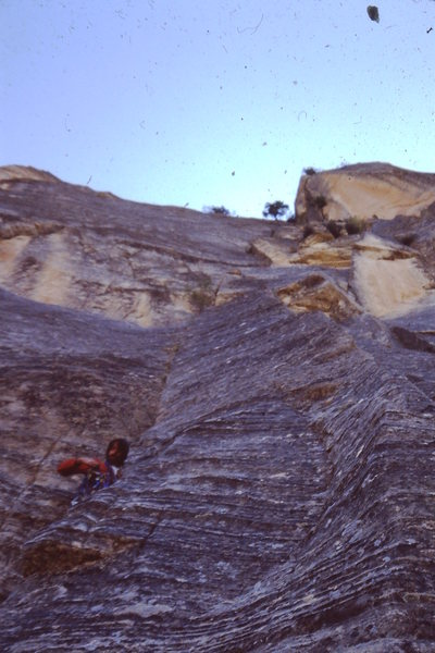 John Fleming on the pitch below the big bivy ledge.  We found a gallon of water here, liquid gold.  Rumor was it from the one of the Lowe's ascent?