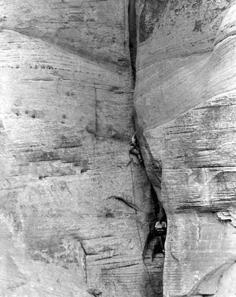 A Larry Coats or Scott Baxter image.<br> 2nd pitch, I think the 2nd ascent, maybe the 3rd.  P Davidson leading, Jim Haisley on the belay, swinging leads.
