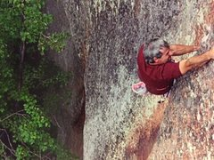Rock Climbing Photo: Finishing the crux