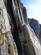 "Rock Climbing Photo: Traversing into the ""5.10 Waterfall"" pit..."