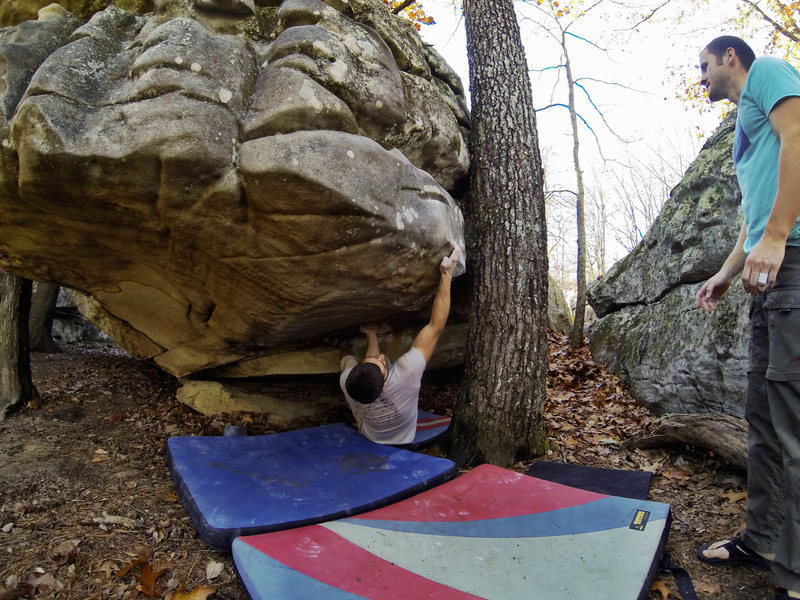 Rock Climbing Photo: Michael Richichi setting up for the crux on Wastel...