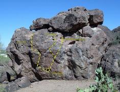 Rock Climbing Photo: Hole Left and Hole Right topo