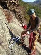 Rock Climbing Photo: Pete belaying George from the top of the first pit...