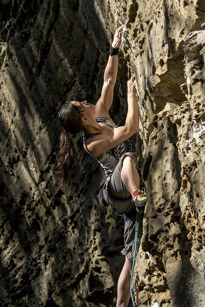 Rock Climbing Photo: T. reaching for a hold and contemplating the next ...