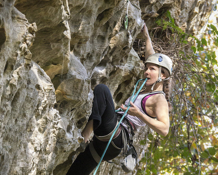 Rock Climbing Photo: Allison mid-clip