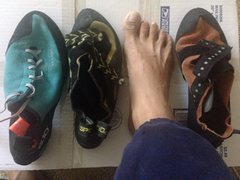 Rock Climbing Photo: My feet and the shoes I've been wearing this year ...