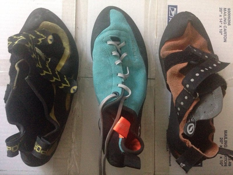 How the shapes compare five ten Verdons Miura VS and a random scarpa I don't know the name of...