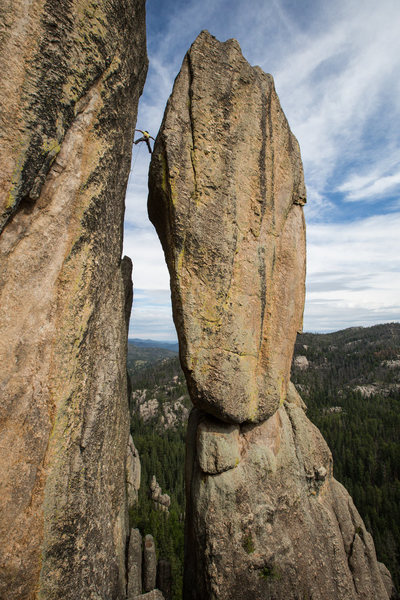 Rock Climbing Photo: Teuber finishing up the airy stem. Andrew Burr pho...