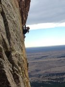 Rock Climbing Photo: ... approaching the slightly overhanging crux sect...
