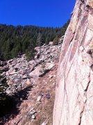 Rock Climbing Photo: Stu finishing up the final few feet to the anchor ...