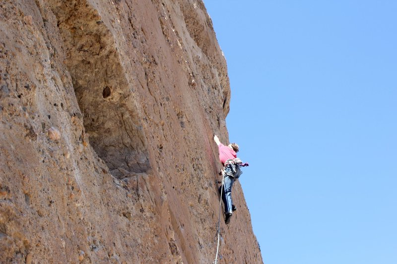 """Rock Climbing Photo: Ethan on the second to last bolt. """" Fun route..."""