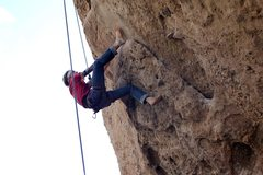 Rock Climbing Photo: Ethan on barefoot clean up duty.