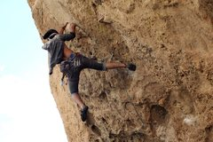 Rock Climbing Photo: Me passing the big dyno to the rail and working my...