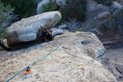 Rock Climbing Photo: (Me) Cleaning the first pitch of tree corner, lead...