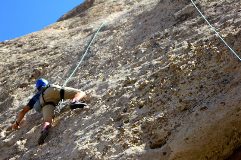 Rock Climbing Photo: My Noob Cousin trying out climbing on a top rope. ...