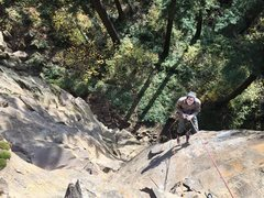 Rock Climbing Photo: Charlie rapping over Enter The Void.