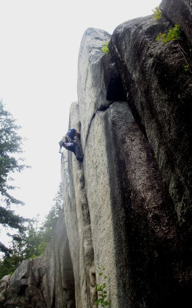 Right at the crux, this climb wants to spit you out.