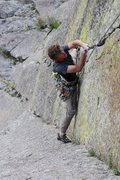 Rock Climbing Photo: Joel following my favorite route at the Tower. Pho...