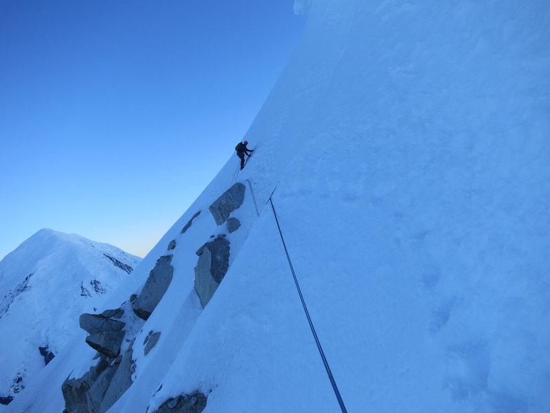 Rock Climbing Photo: Traversing under the cornice