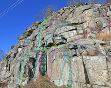 Rock Climbing Photo: Sunny Picnics routes from SE Y - Manticore Face Z ...