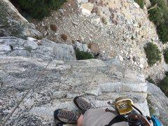 Rock Climbing Photo: Belay set left of end of dihedral hanging over sla...