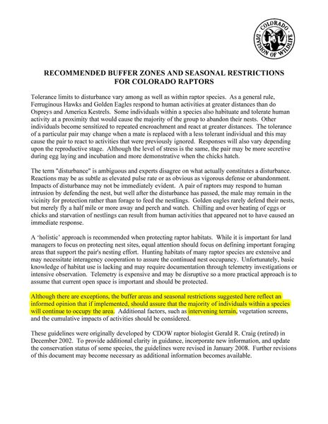 CDOW RECOMMENDED BUFFER ZONES AND SEASONAL RESTRICTIONS<br> FOR COLORADO RAPTORS Page 1.