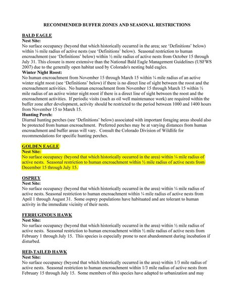 RECOMMENDED BUFFER ZONES AND SEASONAL RESTRICTIONS<br> FOR COLORADO RAPTORS Page 2.