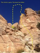Rock Climbing Photo: top of sun baked tower has fallen off at the roof....