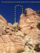 Rock Climbing Photo: The top of sun baked tower has fallen. This climb ...