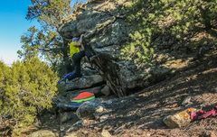 Rock Climbing Photo: Release the feet, and come around the corner on gr...