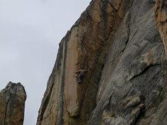 Rock Climbing Photo: Kent Schmitz on the crux of, Gold Eye Arete.5.10c