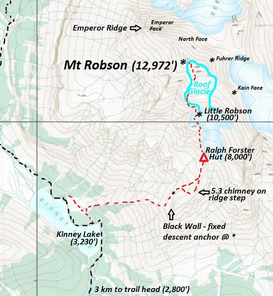 Robson's South Face Route<br> No one else calls it the &quot;Roof Glacier&quot;.  It is really called &quot;the Roof&quot; (a special name for the upper South Glacier).<br> <br> contour interval 20 meters