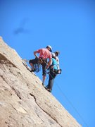 """Rock Climbing Photo: A party at the P1 anchor on """"Hyperion."""""""