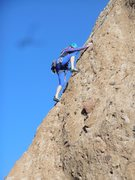 """Rock Climbing Photo: On the arete of """"Deep in the Heart of Dixie&q..."""