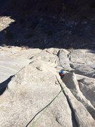 Rock Climbing Photo: Richard Shore following the P2 chimney. Photo: Joh...