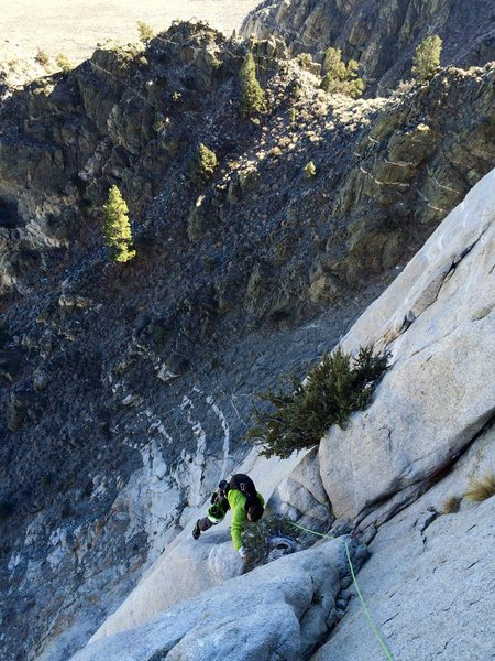 Johnny K just after the crux step-around, P5.