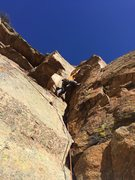 Colin at the P3 crux. Going back for revenge after pulling a piece and taking a whip.
