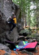 Rock Climbing Photo: Getting into the start of the crux sequence with i...