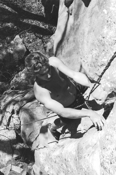 Rock Climbing Photo: a very young DeLapp following the FA circa 1994