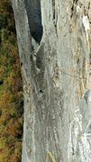 Rock Climbing Photo: Robert atop the third pitch of Arm and Hammer, loo...