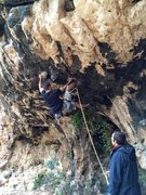 "Rock Climbing Photo: Getting stuck at the second bolt on ""Travel R..."