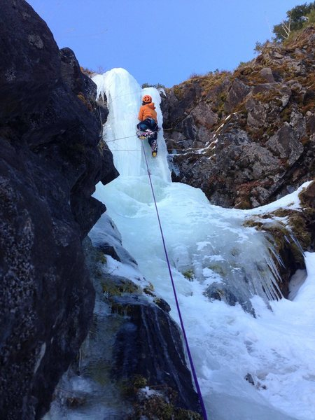 Pitch 4. only about 20 feet of slightly overhung ice, harder than it looks