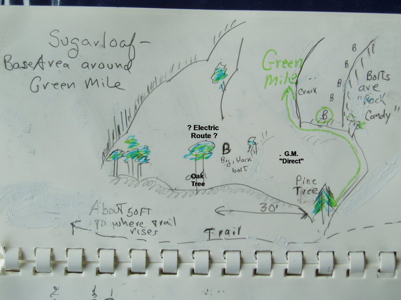 "Topo/Sketch of Base Area around ""Sea of Green"" (once listed as ""Green Mile"")"