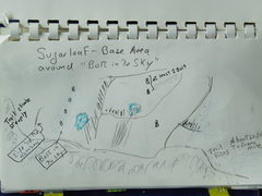 Rock Climbing Photo: Topo/Sketch of Base Area around Bolt-in-the-Sky