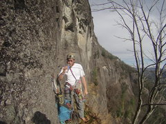 Rock Climbing Photo: Robert atop the sandbag pitch (P4) on our earlier ...