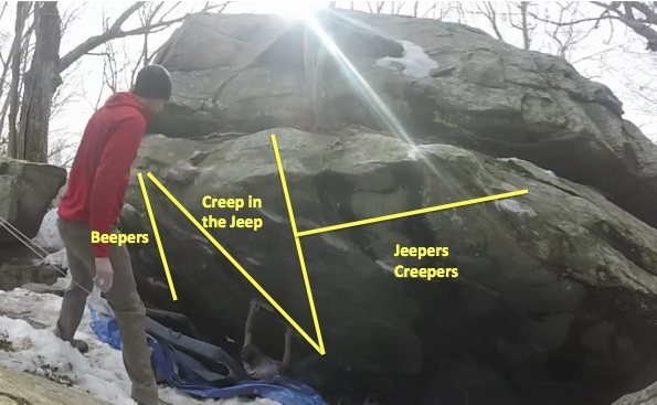 Rock Climbing Photo: route info for small cave